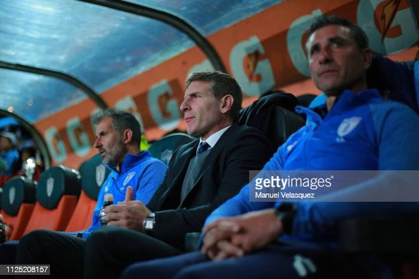 Martin Palermo coach of Pachuca gestures previous the 4th round match between Pachuca and Pumas UNAM as part of the Torneo Clausura 2019 Liga MX at...