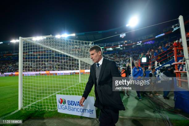 Martin Palermo Coach of Pachuca gets into the field prior the 4th round match between Pachuca and Pumas UNAM as part of the Torneo Clausura 2019 Liga...