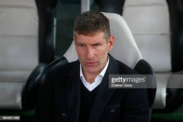 Martin Palermo coach of Union Espanola looks on before a match between Colo Colo and Union Española as part of 2 round of Campeonato Apertura 2016 at...