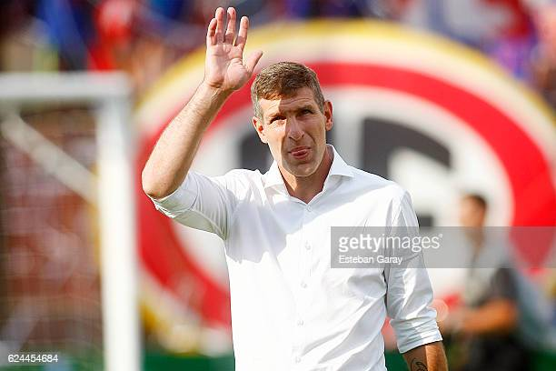Martin Palermo coach of Union Espanola says goodbye after a match between Union Espanola and U de Chile as part of round 12 of Torneo Apertura 2016...