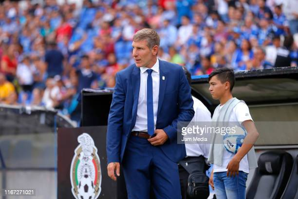 Martin Palermo Head Coach of Pachuca observes the game during the 4th round match between Queretaro and Pachuca as part of the Torneo Apertura 2019...