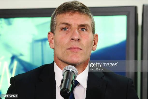 Martin Palermo new head coach of Pachuca looks on during a press conference to make the official announcement of Pachuca new head coach on January 22...