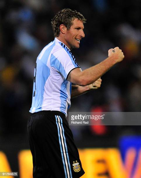 Martin Palermo of Argentina celebrates scored goal during a match against Ghana as part of the International Friendly at Chateau Carrera Stadium on...