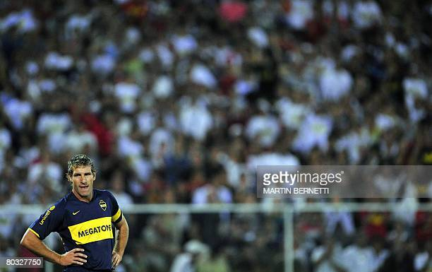Martin Palermo of Argentina's Boca Juniors reacts during a Libertadores Cup match against Colo Colo from Chile on March 20 2008 at El Monumental...