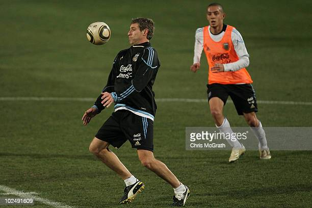 Martin Palermo of Argentina's national football team tries to control the ball during a team training session on June 23 2010 in Pretoria South Africa