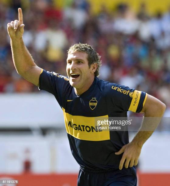 Martin Palermo of Argentinian Boca Juniors celebrates his goal against Mexican Atlas during their Libertadores Cup quarterfinal football match in...