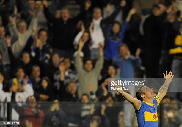 Martin Palermo of Boca Juniors celebrates a scored goal during a match against Colon as part of the IVECO Bicentenario Apertura 2010 at La Bombonera...