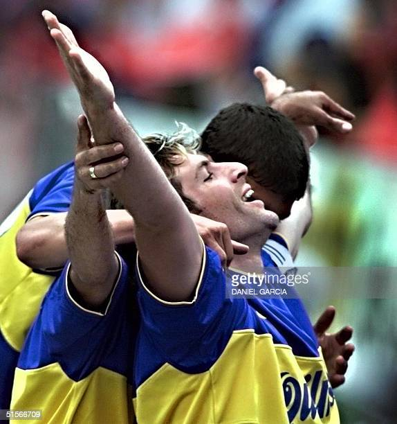 Martin Palermo of Boca Juniors celebrates after his goal 15 October 2000 during a game against River Plate at the Monumental de River stadium in...