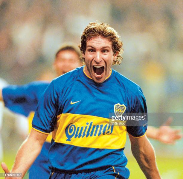 Martin Palermo of Boca Juniors celebrates after scoring the third goal of his team during the second leg quarterfinal match between Boca Juniors and...