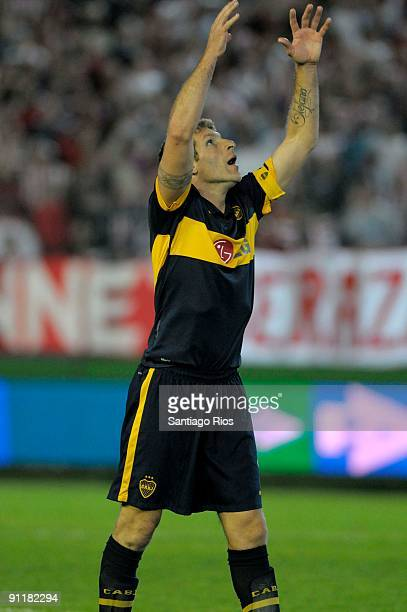 Martin Palermo of Boca Juniors gestures during an Argentina's first division soccer match on September 26 2009 in Buenos Aires Argentina