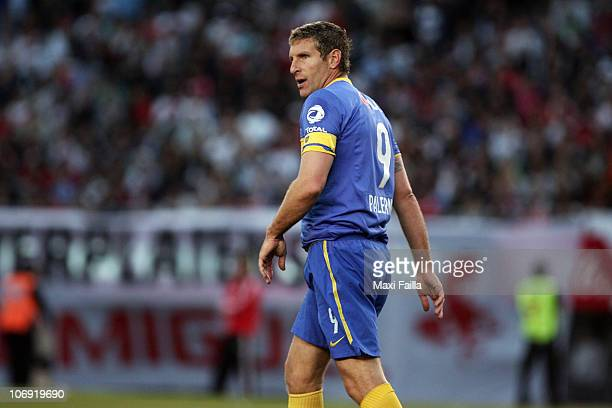Martin Palermo of Boca Juniors reacts during a soccer match against River Plate as part of the IVECO Bicentenario Apertura 2010 at the Antonio...