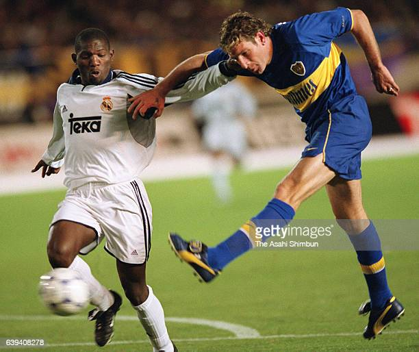 Martin Palermo of Boca Juniors scores his side's second goal during the Toyota Cup match between Real Madrid and Boca Juniors at the National Stadium...