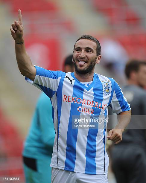 Martin Paterson of Huddersfield Town celebrates scoring the opening goal during the pre season friendly match between Rotherham United and...