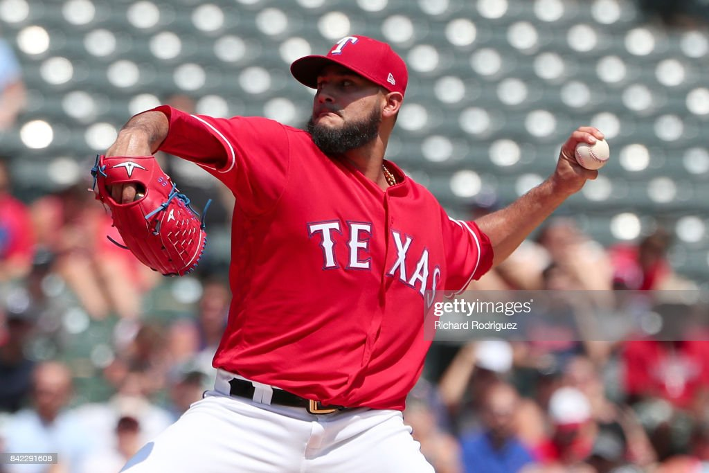 Martin Perez #33 of the Texas Rangers delivers a pitch in the first inning of a game against the Los Angeles Angels of Anaheim at Globe Life Park in Arlington on September 3, 2017 in Arlington, Texas.