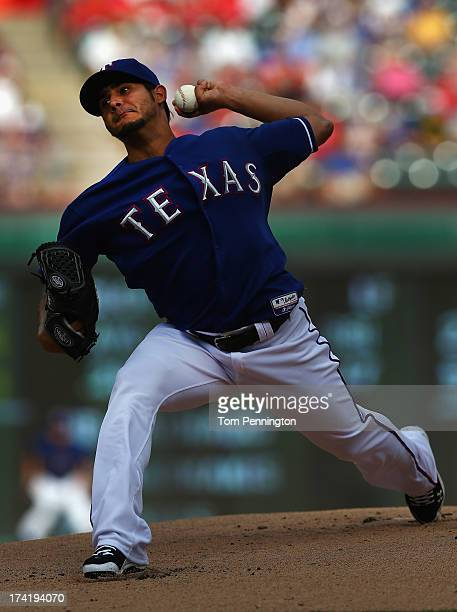 Martin Perez of the Texas Rangers pitches against the Baltimore Orioles in the top of the first inning at Rangers Ballpark in Arlington on July 21...