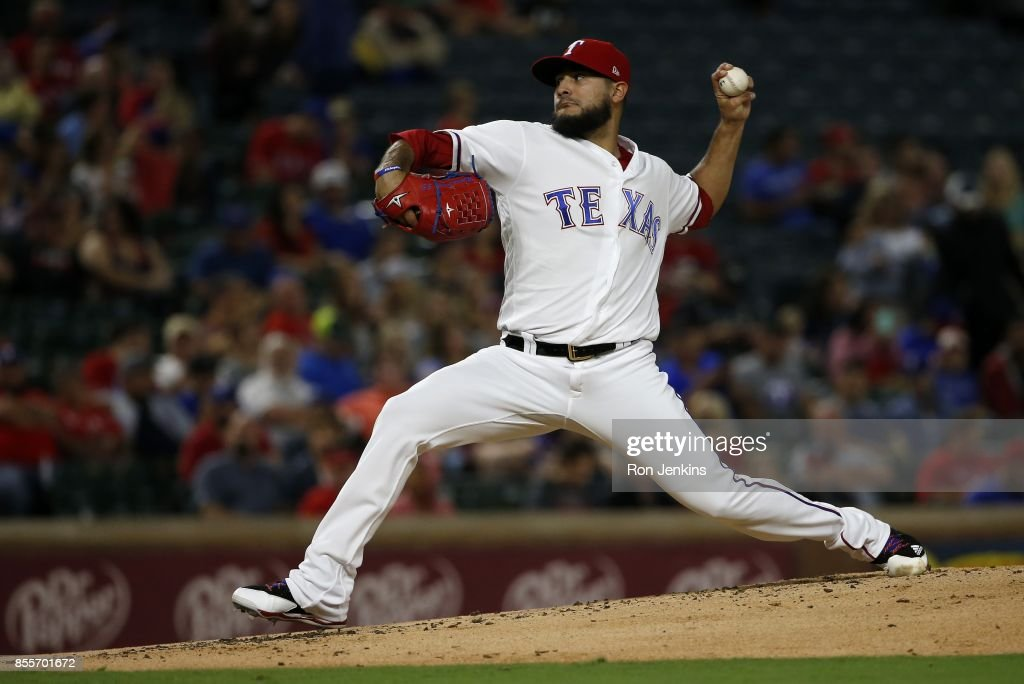 Martin Perez #33 of the Texas Rangers pitches against the Oakland Athletics during the second inning at Globe Life Park in Arlington on September 29, 2017 in Arlington, Texas.