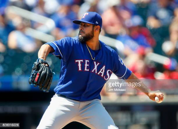 Martin Perez of the Texas Rangers pitches in the third inning against the New York Mets at Citi Field on August 9 2017 in the Flushing neighborhood...