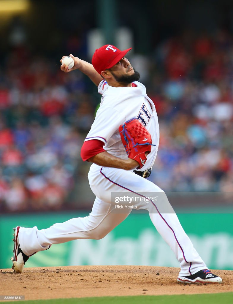Martin Perez #33 of the Texas Rangers throws in the first inning against the Chicago White Sox at Globe Life Park in Arlington on August 19, 2017 in Arlington, Texas.