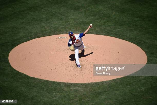 Martin Perez of the Venezuela pitches during the second inning of the World Baseball Classic Pool F Game Five between Puerto Rico and Venezuela at...