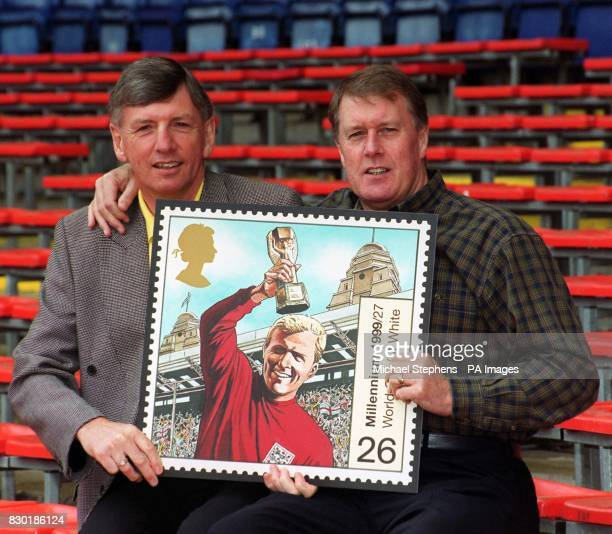 Martin Peters and Sir Geoff Hurst at Wembley Stadium in London to unveil the latest Royal Mail Millennium Stamp The stamp pays tribute to the late...