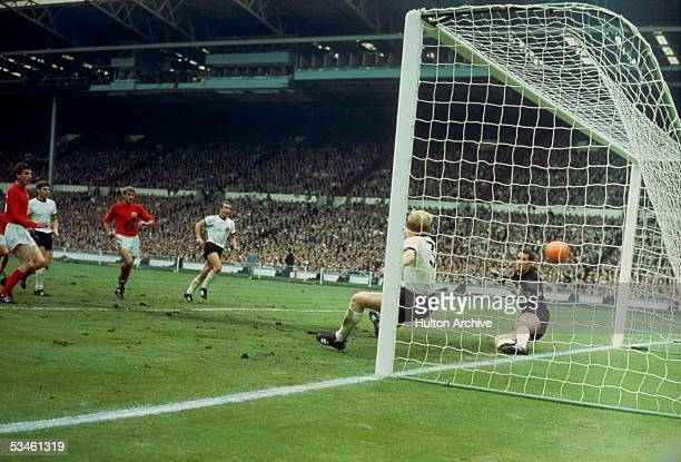 Martin Peters scores England's 2nd goal against West Germany in the World Cup final at Wembley 30th July 1966