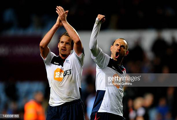 Martin Petrov and Kevin Davies of Bolton Wanderers celebrate at the end of the Barclays Premier League match between Aston Villa and Bolton Wanderers...