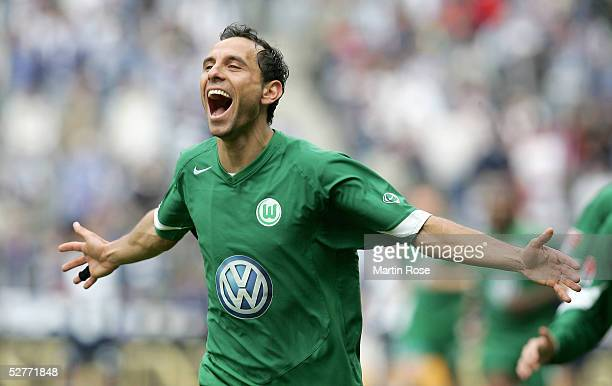 Martin Petrov of Wolfsburg celebrates scoring the first goal during the Bundesliga match between Hertha BSC Berlin and VFL Wolfsburg at the Olympic...