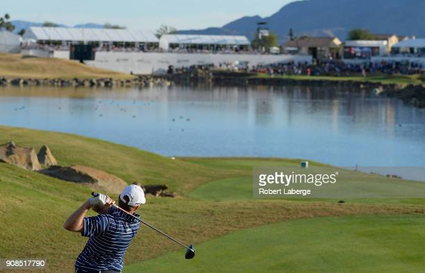 Martin Piller plays his shot from the 18th tee during the final round of the CareerBuilder Challenge at the TPC Stadium Course at PGA West on January...
