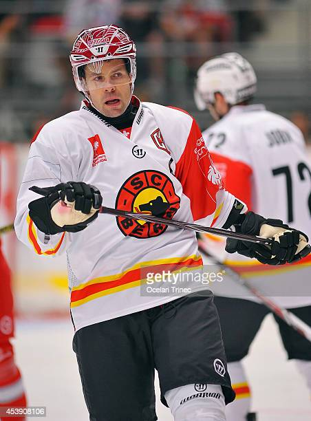 Martin Pluss of SC Bern looks on during the Champions Hockey League group stage game between HC Ocelari Trinec and SC Bern on August 21 Trinec, Czech...