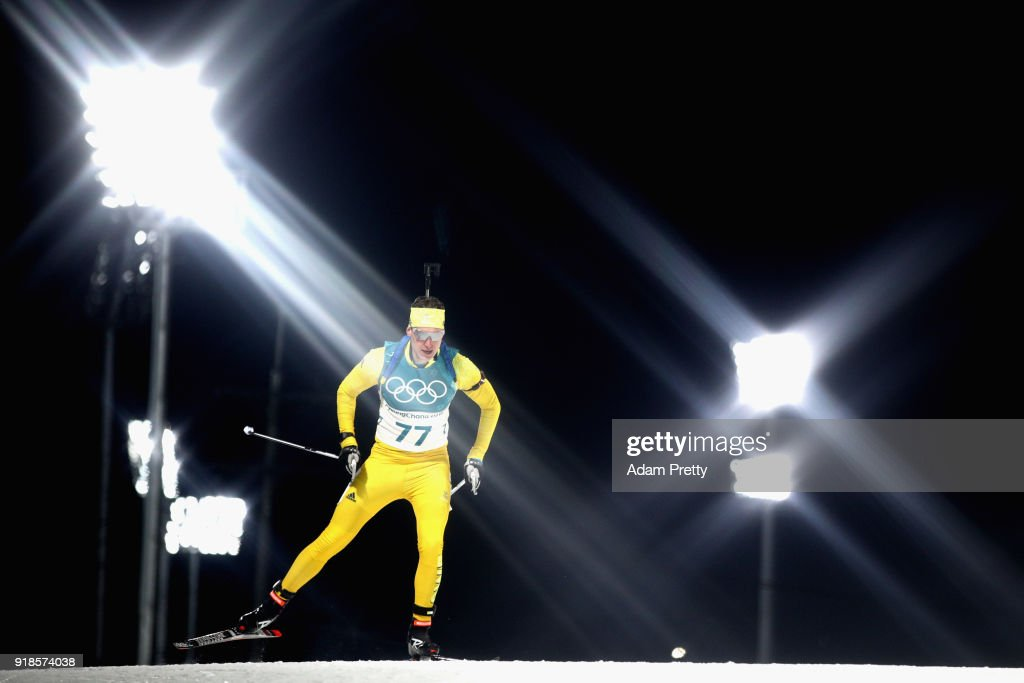 Martin Ponsiluoma of Sweden competes during the Men's 20km Individual Biathlon at Alpensia Biathlon Centre on February 15, 2018 in Pyeongchang-gun, South Korea.