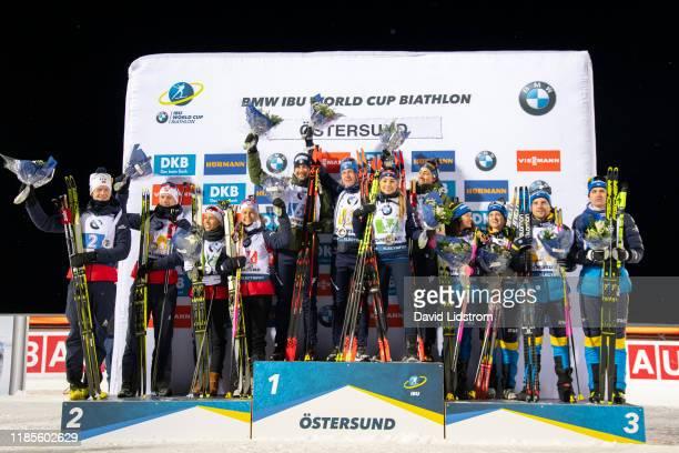 Martin Ponsiluoma of Sweden Jesper Nelin of Sweden, Mona Brorsson of Sweden, Linn Persson of Sweden, Lisa Vittozzi of Italy, Dorothea Wierer of...