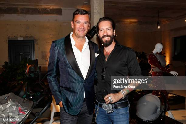 Martin Pos and Alec Voelkel during the Cybex Fashion Cocktail on September 5 2017 in Berlin Germany