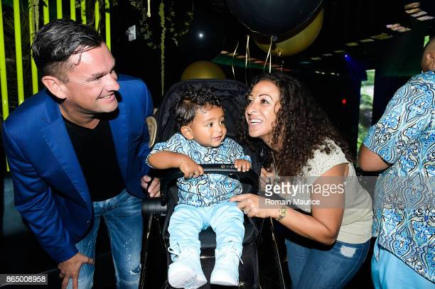 Martin Pos Asahd Khaled Nicole Tuck attend Tot Living By Haute Living Celebrates Asahd's First Birthday With Cybex on October 21 2017 in Miami Florida