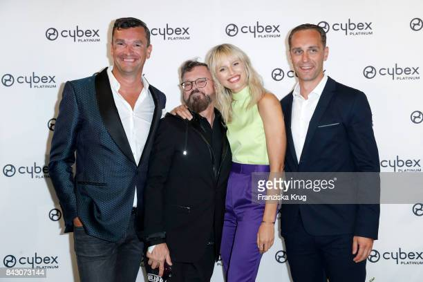 Martin Pos Vasek Skala supermodel and actress Karolina Kurkova and Johannes Schlamminger during the Cybex Fashion Cocktail on September 5 2017 in...