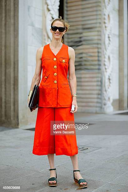 Martin poses wearing a Todd Oldham dress and Marni shoes on September 17 2014 in Milan Italy