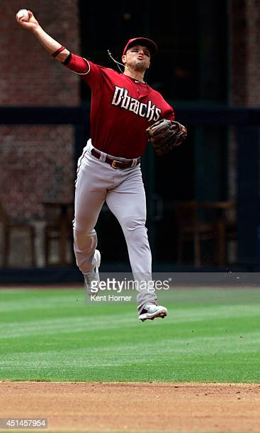 Martin Prado of the Arizona Diamondbacks trhows the ball towards first base for the forced out in the third inning of the game against the San Diego...