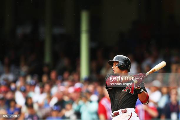Martin Prado of the Diamondbacks bats during the MLB match between the Los Angeles Dodgers and the Arizona Diamondbacks at Sydney Cricket Ground on...