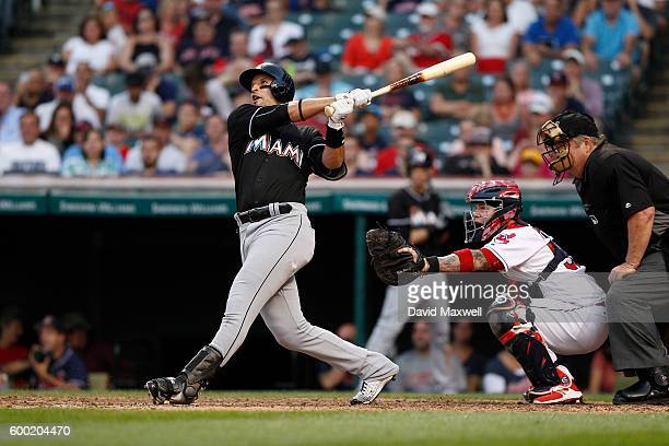 Martin Prado of the Miami Marlins bats against the Cleveland Indians in the ninth inning of their interleague game at Progressive Field on September...