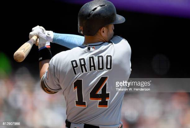 Martin Prado of the Miami Marlins bats against the San Francisco Giants in the top of the third inning at ATT Park on July 9 2017 in San Francisco...