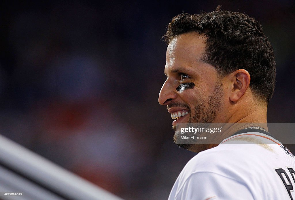 Martin Prado #14 of the Miami Marlins looks on during a game against the Washington Nationals at Marlins Park on July 30, 2015 in Miami, Florida.