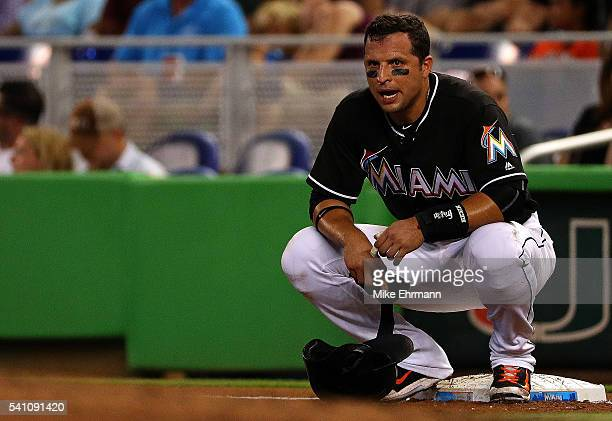 Martin Prado of the Miami Marlins looks on during a game against the Colorado Rockies at Marlins Park on June 18 2016 in Miami Florida