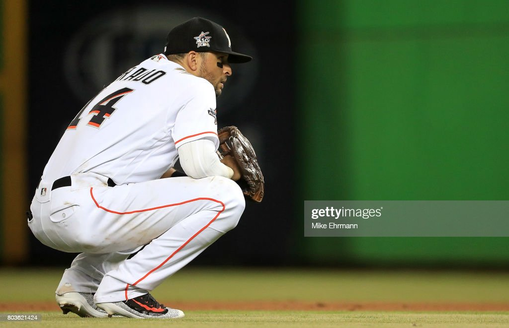 Martin Prado #14 of the Miami Marlins looks on during a game against the New York Mets at Marlins Park on June 29, 2017 in Miami, Florida.