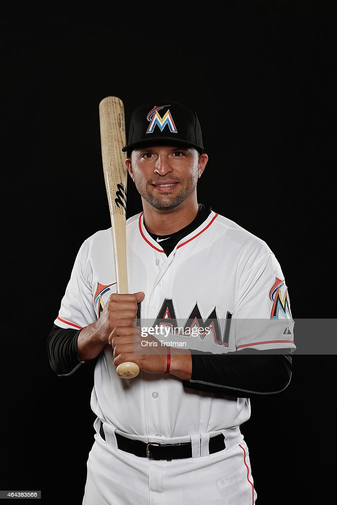 Martin Prado #24 of the Miami Marlins poses for a photograph at Spring Training photo day at Roger Dean Stadium on February 25, 2015 in Jupiter, Florida.