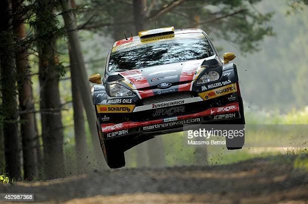 Martin Prokop of Czech Republich and Jan Tomanek of Czech Republich compete in their Jipocar Czech National Team Ford Fiesta RS WRC during the...