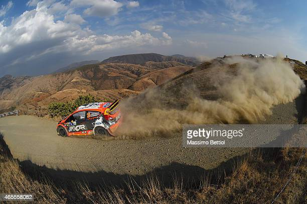 Martin Prokop of Czech Republich and Jan Tomanek of Czech Republich compete in their Jipocar Czech National Team Ford Fiesta RS WRC during Day Two of...