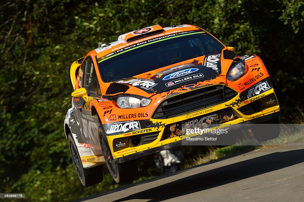 Martin Prokop of Czech Republich and Jan Tomanek of Czech Repulich compete in their Jipocar Czech National Team Ford Fiesta RS WRC during Day Two of the WRC Germany on August 22, 2015 in Trier, Germany.