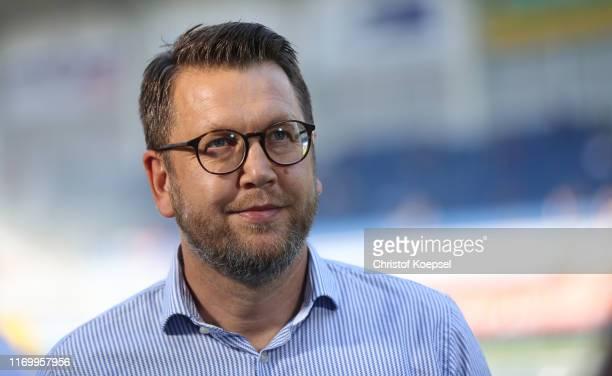 Martin Przondziono, chairman sport of Paderborn reacts during the Bundesliga match between SC Paderborn 07 and Sport-Club Freiburg at Benteler Arena...