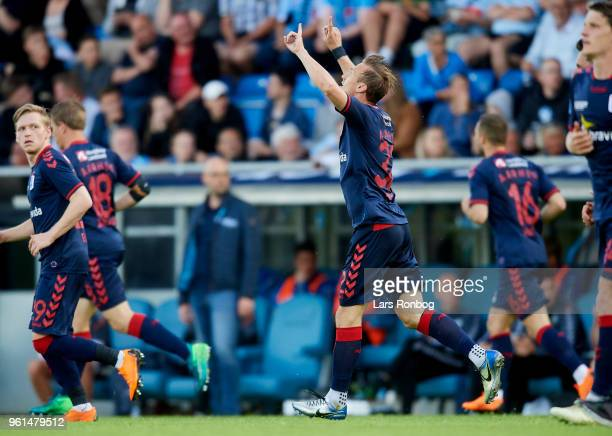 Martin Pusic of AGF Aarhus celebrates after scoring their second goal during the Danish Alka Superliga Europa League Playoff match between...