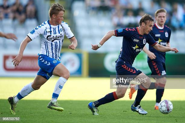 Martin Pusic of AGF Arhus controls the ball during the Danish Alka Superliga match between OB Odense and AGF Arhus at EWII Park on May 13 2018 in...