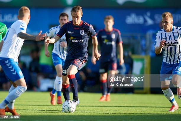 Martin Pusic of AGF Arhus in action during the Danish Alka Superliga match between OB Odense and AGF Arhus at EWII Park on May 13 2018 in Odense...
